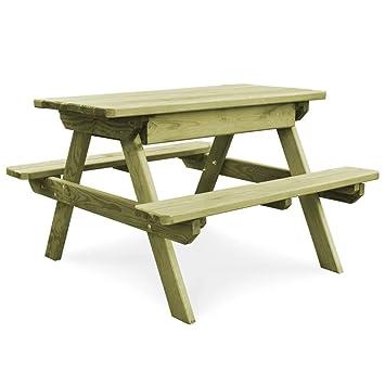 Tidyard Table de Pique-Nique de Jardin avec Bancs Bois de Pin ...