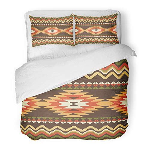 Emvency Decor Duvet Cover Set King Size Navajo Ethnic Abstract American Native Aztec Cultural Culture Folk Geometric 3 Piece Brushed Microfiber Fabric Print Bedding Set -
