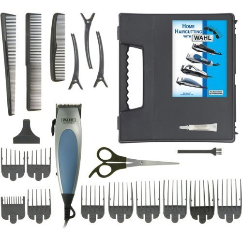 (Wahl Corded Home Pro 22-Piece Haircut Kit - Self Sharpening Steel Blades, Taper Control, Ergonomic, Soft Touch Grip, 10 Guide Combs)