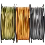 Metallic Gold/Silver/Bronze 3D Printer PLA Filament Bundle, 1.75mm+/-0.03mm Widely Compatible, Each Spool 0.5kg, Total 1.1kgs, with One 3D Print Tool Mika3D