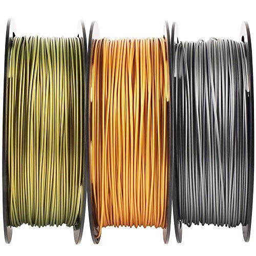 Metallic Gold/Silver/Bronze 3D Printer PLA Filament Bundle, 1.75mm+/-0.03mm Widely Compatible, Each Spool 0.5kg, Total 1.1kgs, with One 3D Print Stick Tool Mika3D