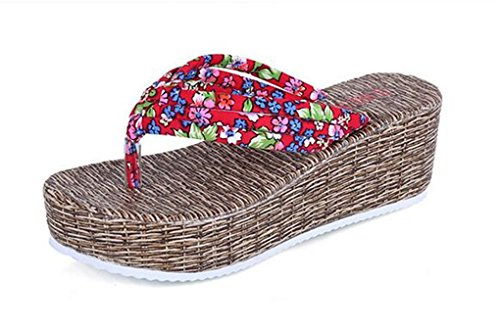 NEWZCERS El verano de las mujeres anti-deslizamiento con las sandalias de la playa de la arena de la fricción de la palabra, pantalones gruesos de los pies Rojo