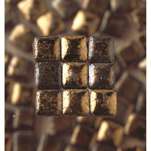 MosaicMicros 5 x 5 x 3 mm 10 g 100-Piece Ceramic Glazed Mini Mosaic Tiles, Black Gold