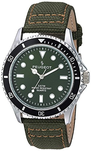 Peugeot Men's Sport Bezel Watch with Green Canvas Wrist Band