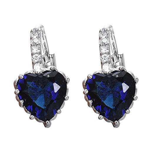 Deco Crystal Ring (DDLBiz Women Girls Crystal Love Heart Shape Zircon Earrings Ear Studs Ear Deco (Blue))