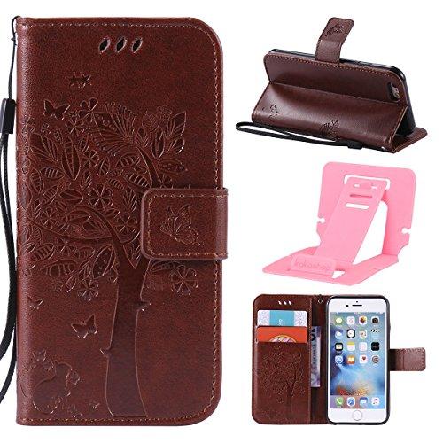 iPhone 6s Plus Leder Flip Case,Apple iPhone 6 Plus Hülle,Ekakashop iPhone 6s Plus PU Leder Tasche Flip Wallet Case Cover Stand Lederhülle Brieftasche mit Kartensteckplätze,Bookstyle Braun Katzen und B