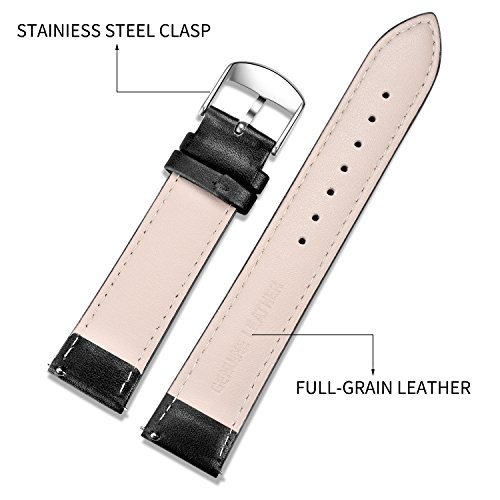 Quick Release Leather Watch Band, SONGDU Full Grain GenuineLeather Replacement Watch Strap with Stainless Metal Buckle Clasp 18mm, 20mm, 22mm (22mm, Black)