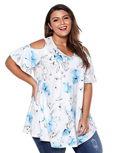 ACKKIA Women's Plus Size Floral Print Cold Shoulder Short Sleeve Loose T Shirt Tops Blouse Size XXX-Large (US 24-26)