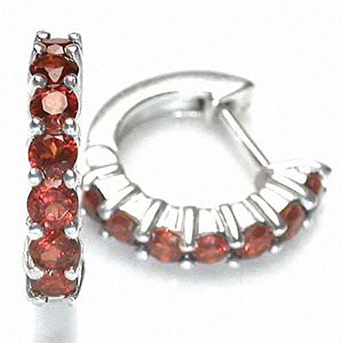 (1.96ct. Natural Garnet White Gold Plated 925 Sterling Silver Journey Huggie Earrings)