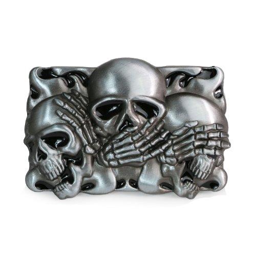 Landisun Handmade Casino See No Evil Three Skulls Belt (Skull Buckle Metal)
