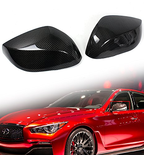 Carbon Fiber Mirror Covers - Cuztom Tuning for 2014-2018 Infiniti Q50 Q50S Real Carbon Fiber Side Mirror Cap Covers-Replacement Type