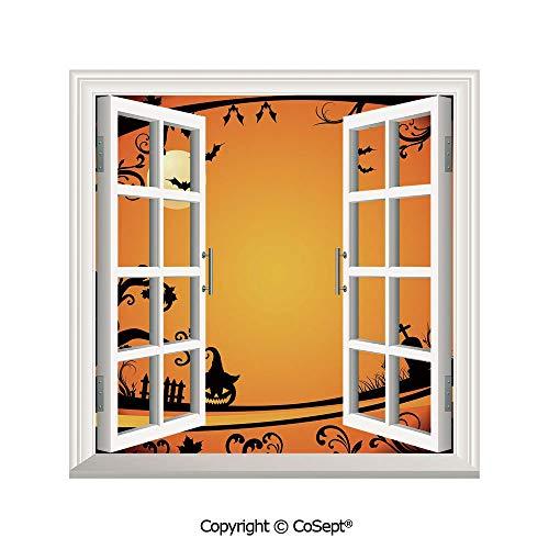 SCOXIXI Window Wall Sticker,Halloween Themed Image Eerie Atmosphere Gravestone Evil Pumpkin Moon Decorative,3D Window View Decal Home Decor Deco Art (25.86x22.63 inch) -