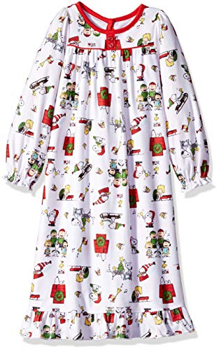 Peanuts Girls' Toddler Soft Knit Flannel Holiday Granny Nightgown, White, 3T