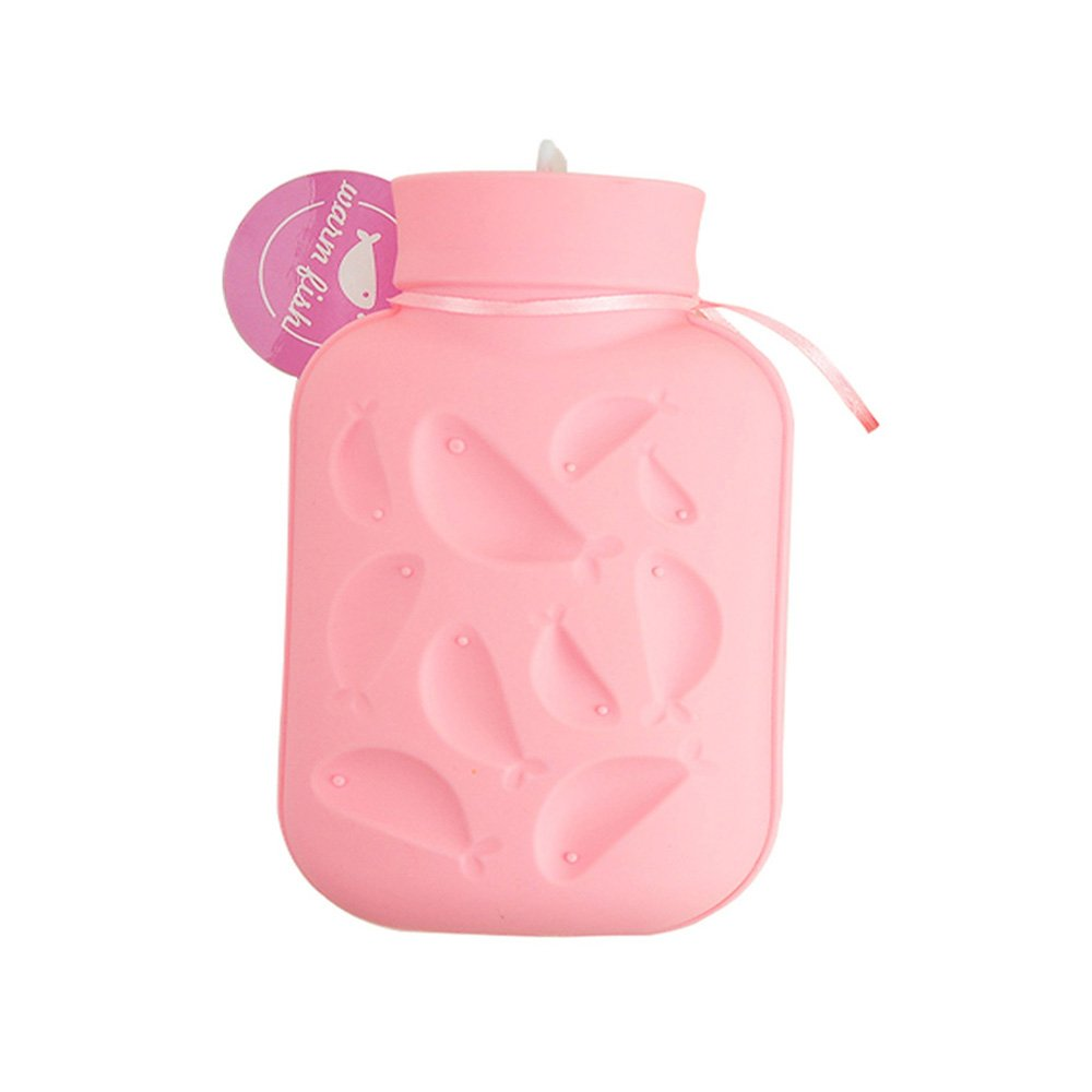 Silicone Hot Water Bag Upgrade Version Soothes Pains Health Safety Bottle Silicone Hot (Cold) Water Bag With Knit Cover (Pink)