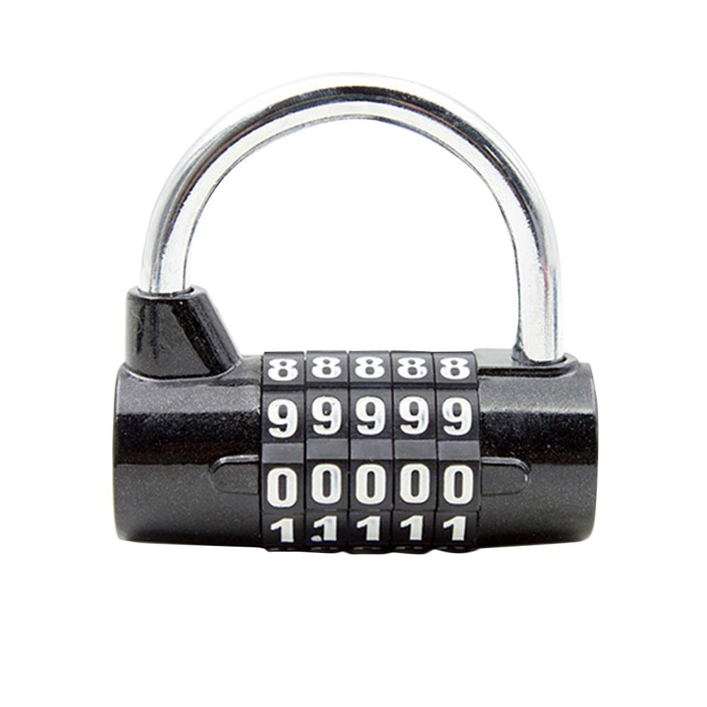 caj/ón Numbers Candados de combinaci/ón de 5 d/ígitos negro oficina armario gimnasio candado de seguridad con n/úmero de combinaci/ón para bicicleta