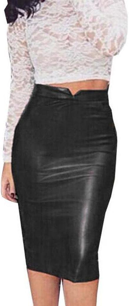 Culater® Faldas Cortas Elástico Paquete Cadera Cuero de la PU