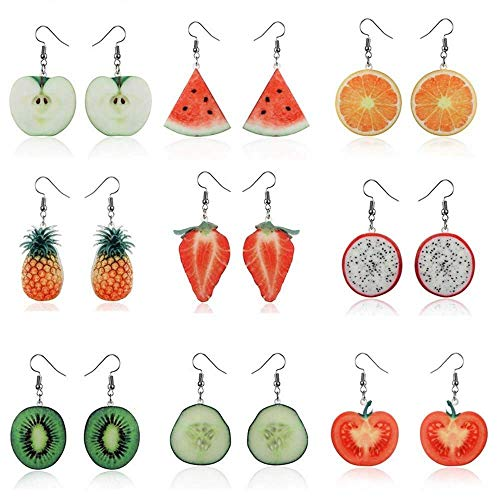 mixed Fruit Pattern Goods Of Every Description Are Available Strong-Willed 7 Pairs Funny Acrylic Earring Decor Ear Drop Sets Makeup Ear Drop Decor Ear Clip For Girl Kid Child