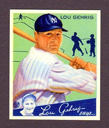 Lou Gehrig 1934 Goudey Baseball Reprint Card #61 w/ Original Back and Size (Yankees)