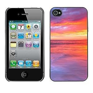 Cubierta de la caja de protección la piel dura para el Apple iPhone 4 / 4S - Green Leaf Nature Water Life