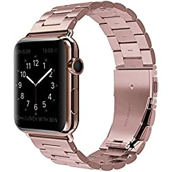 Apple Watch Band, Men / Women Stainless Steel Sport Folding Clasp Smart Watch Replacement Bands for Apple iWatch 38mm - Rose Gold