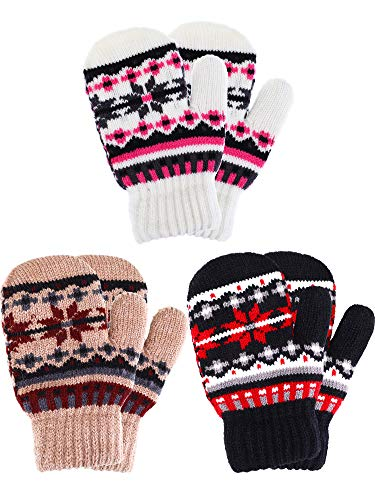 Tatuo 3 Pairs Full Finger Kids Gloves Winter Warm Knitted Mittens Plush Thicken Christmas Gloves for Infant Boys Girls (Color Set 3) ()