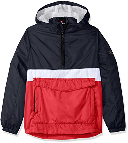 Southpole Boys' Big Anorak Colorblock Water Resistance Hooded Pullover, Navy(Packable), Large ()