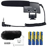 Sennheiser MKE 400 Compact Video Camera Shotgun Microphone with MZW400 Wind-muff and XLR Adapter and AAA Batteries Kit