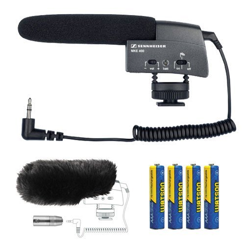 (Sennheiser MKE 400 Compact Video Camera Shotgun Microphone with MZW400 Wind-muff and XLR Adapter and AAA Batteries Kit)