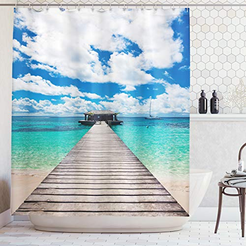 - Ambesonne Wooden Bridge Decor Collection, Caribbean Seascape Jetty and Sailboat Cloudy Sky Clear Ocean Picture, Polyester Fabric Bathroom Shower Curtain Set with Hooks, Turquoise Blue Ivory
