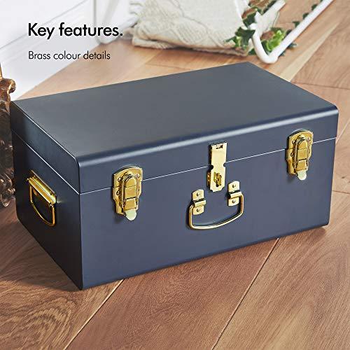 Beautify Set of 3 Navy Blue Vintage Metal Steel Storage Trunk Set Lockable and Decorative with Brass Handles - Bedroom Footlocker, College Dorm or Living Room Trunks