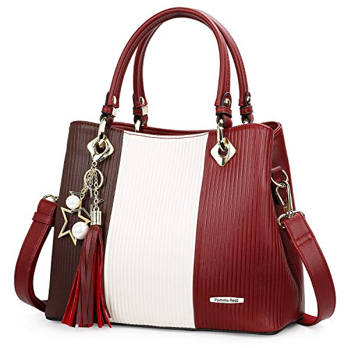 - Handbags for Women with Multiple Internal Pockets in Pretty Color Combination (Scarlet/White/Red)