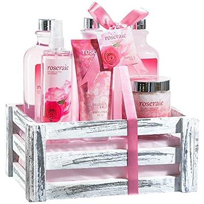 Pink Rose Bath Gift Set: body mist spray,body lotion,bath salts, shower gel, hand cream, bubble bath!