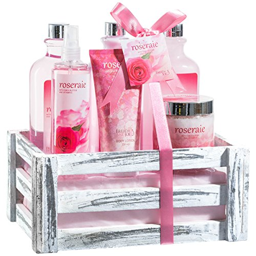 Beautiful & Luxurious Pink Rose Bath Gift Set for Women by Freida Joe – Romantic & Elegant Spa Gift Basket with Vintage Wood Crate & Multiple Rejuvenating Body & Skin Care Products – Perfect Gift (Elegant Baskets)