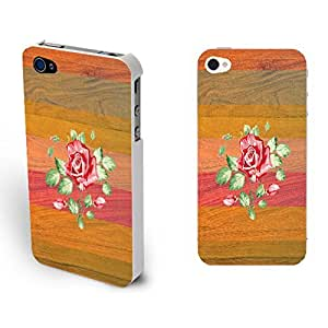 Retro Floral Wood Pattern Print Plastic Protector Skin Phone Case Cover for Iphone 4 4s