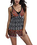 Womens One Piece Plus Size Printed Tankini Swimsuits with Boyshorts, Black, L(US:12-14)