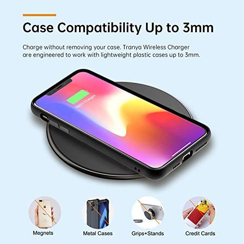 Carregador sem fio TRANYA, base para carregamento sem fio rápido de até no máximo 15 W para iPhone SE / 11/11 Pro / Xs…