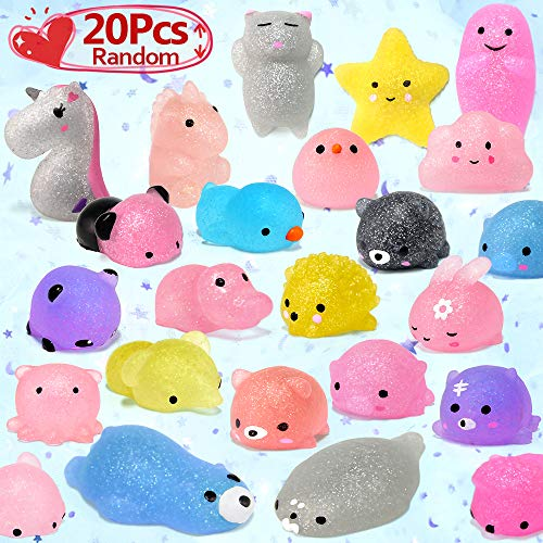 Glitter Mochi Squishy Toy, LUDILO 2nd Generation Animal squishy Kawaii Mini Squishies Party Favors for Kids Unicorn Squishys Cat Panda Bunny Easter Egg Fillers for kid Stress Relief Toy, 20pcs Random -