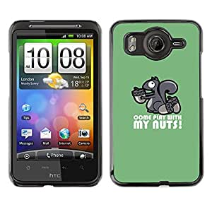 Qstar Arte & diseño plástico duro Fundas Cover Cubre Hard Case Cover para HTC Desire HD / G10 / inspire 4G( Squirrel Nuts Play Come Quote Funny Humow)