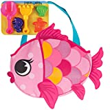 Stephen Joseph Beach Totes with Sand Toy Play Set Fish Swimming Pool Basketball Toys, Pink
