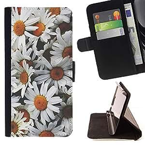 Momo Phone Case / Flip Funda de Cuero Case Cover - Margaritas Flores dom campo de época - Huawei Ascend P8 Lite (Not for Normal P8)