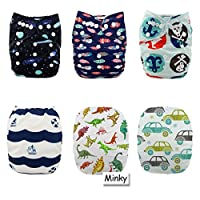 Alva Baby New Design Reuseable Washable Pocket Cloth Diaper 6 Nappies + 12 In...