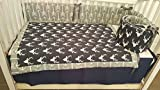 Woodland 3 Piece baby boy nursery crib bedding Quilt, bumper, and bed skirt, Buck, deer head silhouette, Navy deer head panel with Gray arrows