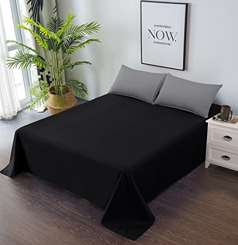 Goza Bedding Microfiber Flat Sheet (Black, Full)