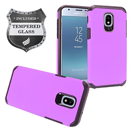 Z-GEN - Galaxy J3 2018 J3 Star/Achieve/Aura/Orbit, Sol3, Express Prime 3, Amp Prime 3, J3 V J3V 3rd Gen J337 - Rubberized Hybrid Case for Samsung + Tempered Glass Screen Protector - AH2 Purple