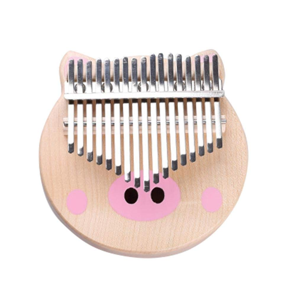 Famtasme Thumb Piano Kalimba 17-Key Solid Wood Finger Piano Start kit Piglet Version African Musical Instrument with Protective Box Tuning Hammer Learning Manual Cleaning Cloth