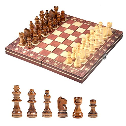 Set, Wooden Folding Chess and Checkers Board Game Educational Toys for Kids and Adults ()