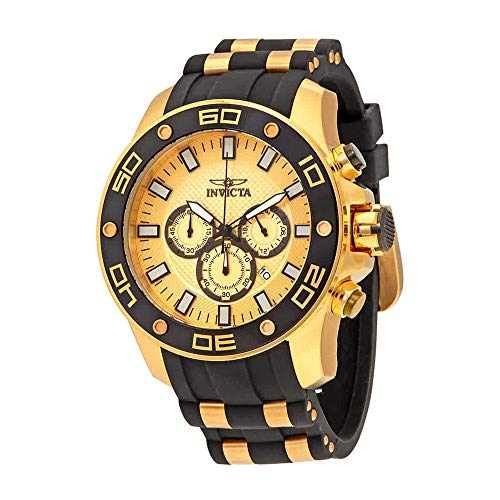 Invicta Pro Diver Chronograph Gold Dial Mens Watch 26088