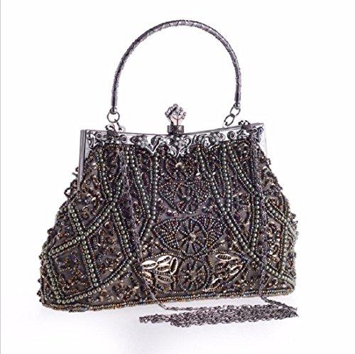 XJTNLB Bolso de mano, bolsa de hombro, perla bordado la cena, bolso, conocimiento de embarque, bolso, vestido de novia, novia de la bolsa,Golden Gris Mineral
