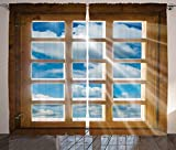 House Decor Curtains Wooden Window With Sunbeams From View Of Sky And Clouds Living Room Bedroom Decor 2 Panel Set