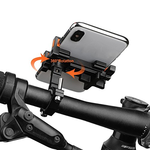 Ehpow Universal Bike Phone Mount Bike Holder Aluminum Alloy Bicycle & Motorcycle 360 ° Rotation Adjustable Fit iPhone X/8/8 Plus/7/6s/6/5s/5c/Samsung S7/S6/S5/Note 5/4/3, Nexus,HTC,Huawei